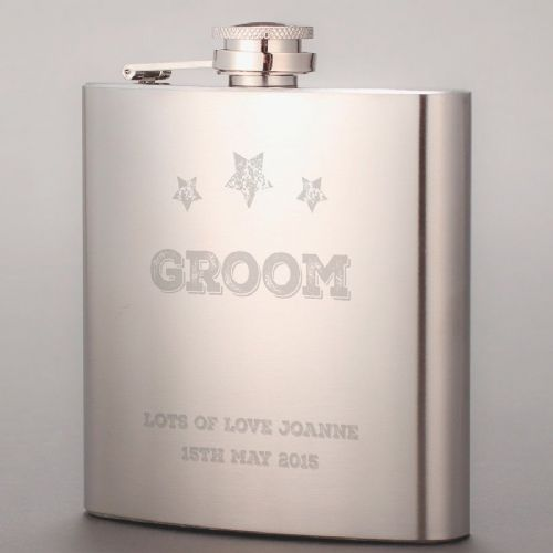 Personalised Groom Hip Flask - Star Design